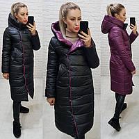 Куртка двустороняя евро-зима  с капюшоном арт. 1007 черный / слива 1007