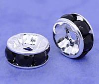 Розділювачі для намистин, Рондель, Метал, Стрази Чорні, Колір корпусу: срібло, 8 мм х 4 мм, 1,3 мм, фото 1
