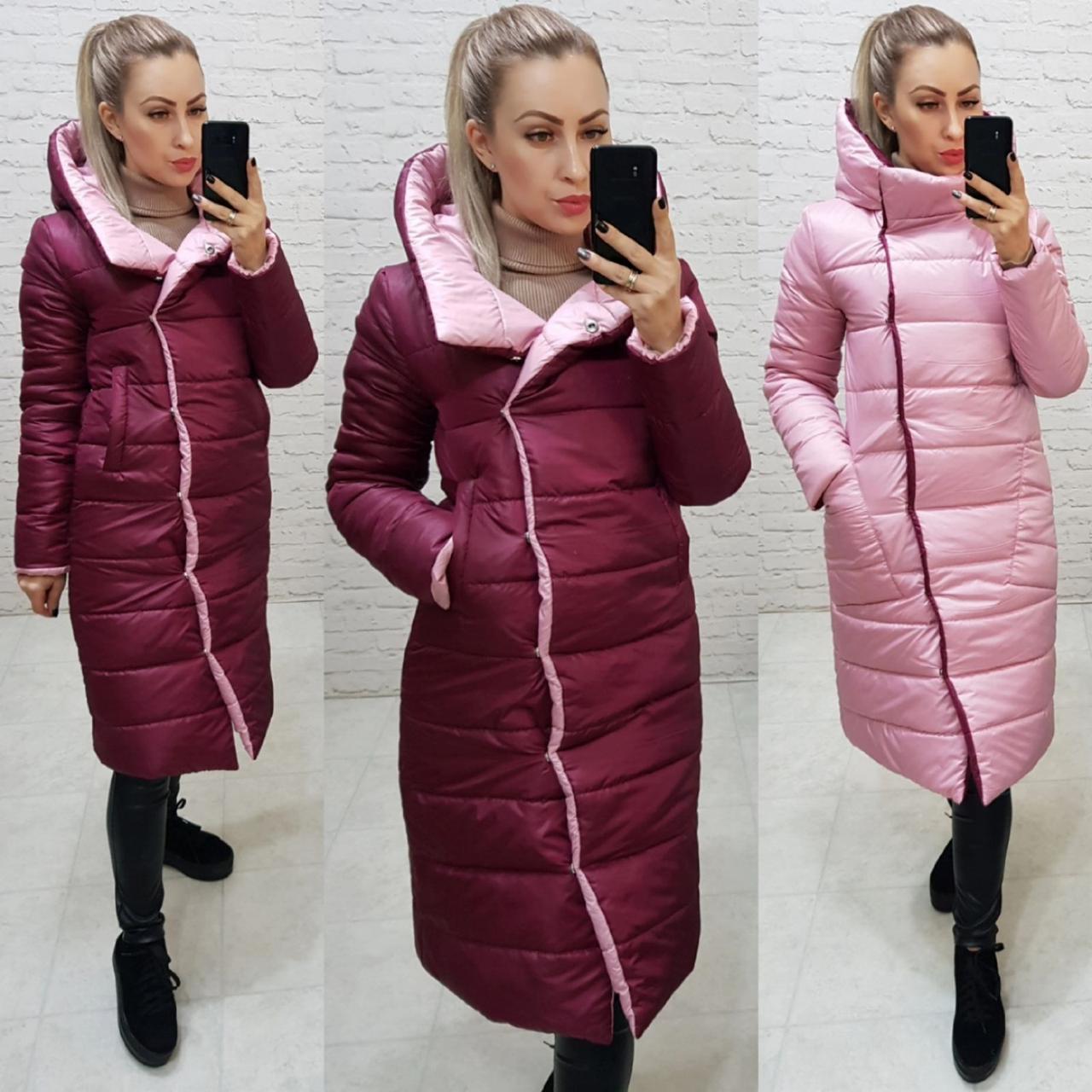 Куртка двостороння євро-зима з капюшоном арт. 1007 вишня / рожевий 1007