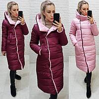 Куртка двостороння євро-зима з капюшоном арт. 1007 вишня / рожевий 1007, фото 1