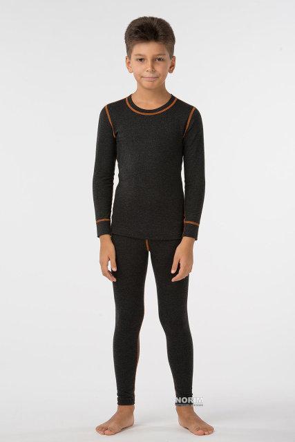Термокомплект детский KIFA для мальчика (КДМ-203) Черный оранжевая строчка