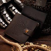 Кожаный портмоне мужской с ДРЕВНИМ АМУЛЕТОМ для привлечения, кошелек из кожи для мужчин.