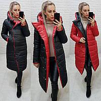 Куртка двустороняя евро-зима  с капюшоном арт. 1007 черный / красный