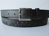 """Ремень мужской джинсовый шпенек черный(кл.кожа, 35 мм.) №М18115 """"Remen"""" LM-638"""