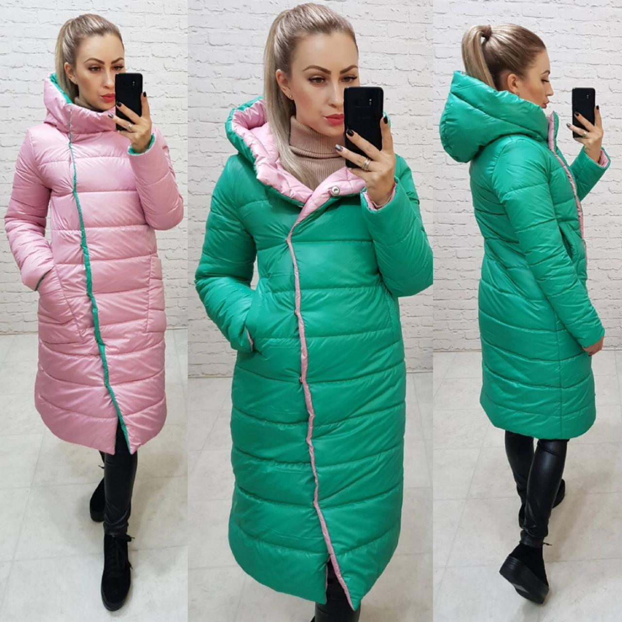 Куртка двустороняя евро-зима  с капюшоном арт. 1007 зеленый / розовый