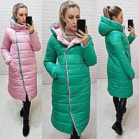 Куртка двустороняя евро-зима  с капюшоном арт. 1007 зеленый / розовый, фото 1