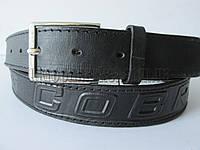 """Ремень мужской джинсовый шпенек черный(кл.кожа, 35 мм.) №М18117 """"Remen"""" LM-638"""
