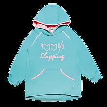 Дитяча толстовка для дівчинки TL-19-37 *Написи* (колір: Ментоловий, Розміри - 104, 110)