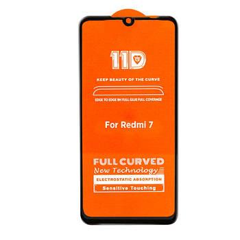 11D (5D+) стекло для Xiaomi Redmi 7 Black Черное - Полный клей