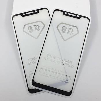 5D стекло для Pocophone F1 Black Полный клей / Full Glue