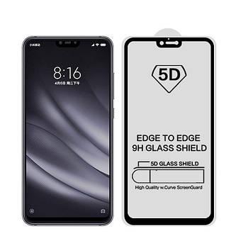 5D стекло для Xiaomi Mi8 Lite Черное - Полный клей / Full Glue