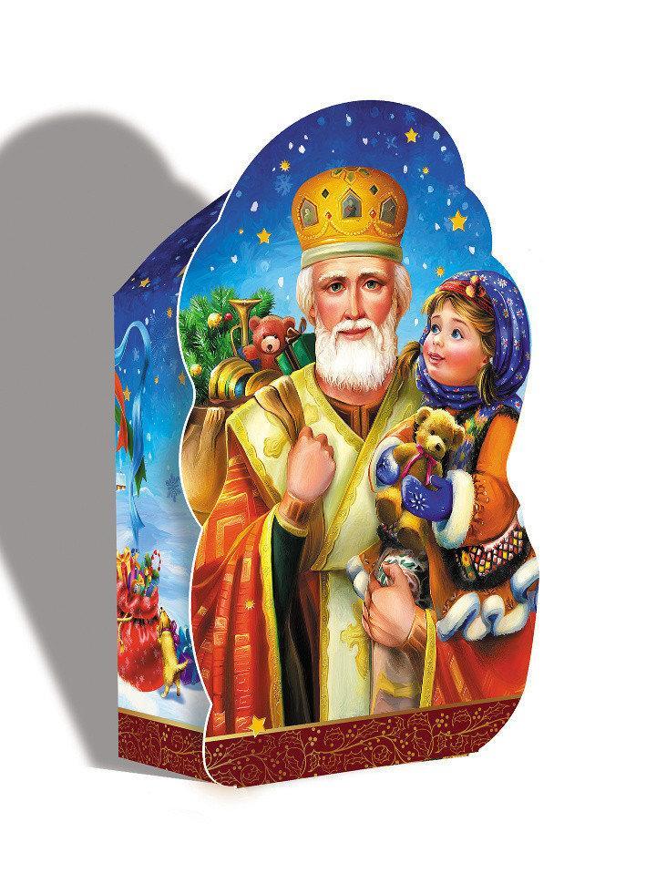 Упаковка праздничная новогодняя из металлизированного картона Святой Николай, 700г