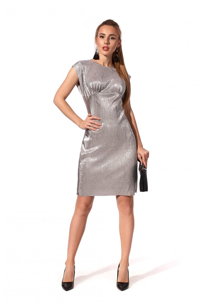 Шикарное женское платье серебро