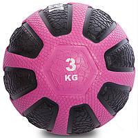Мяч медицинский медбол Medicine Ball 3 кг (резина, d-23 см, черный-розовый), фото 1