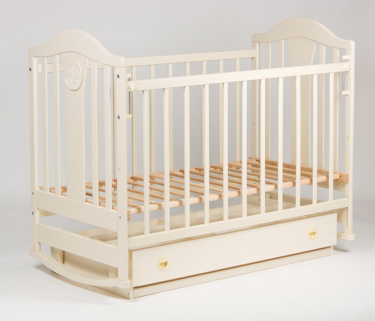 Детская кроватка «НАПОЛЕОН» с Ящиками ( Белая ) Ваниль