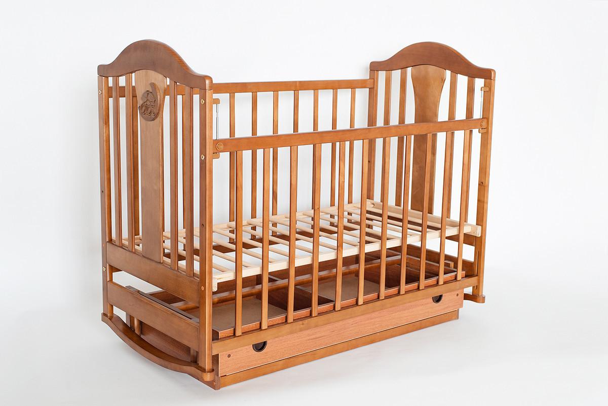 Детская кроватка «НАПОЛЕОН» с Ящиками ( Белая ) Орех
