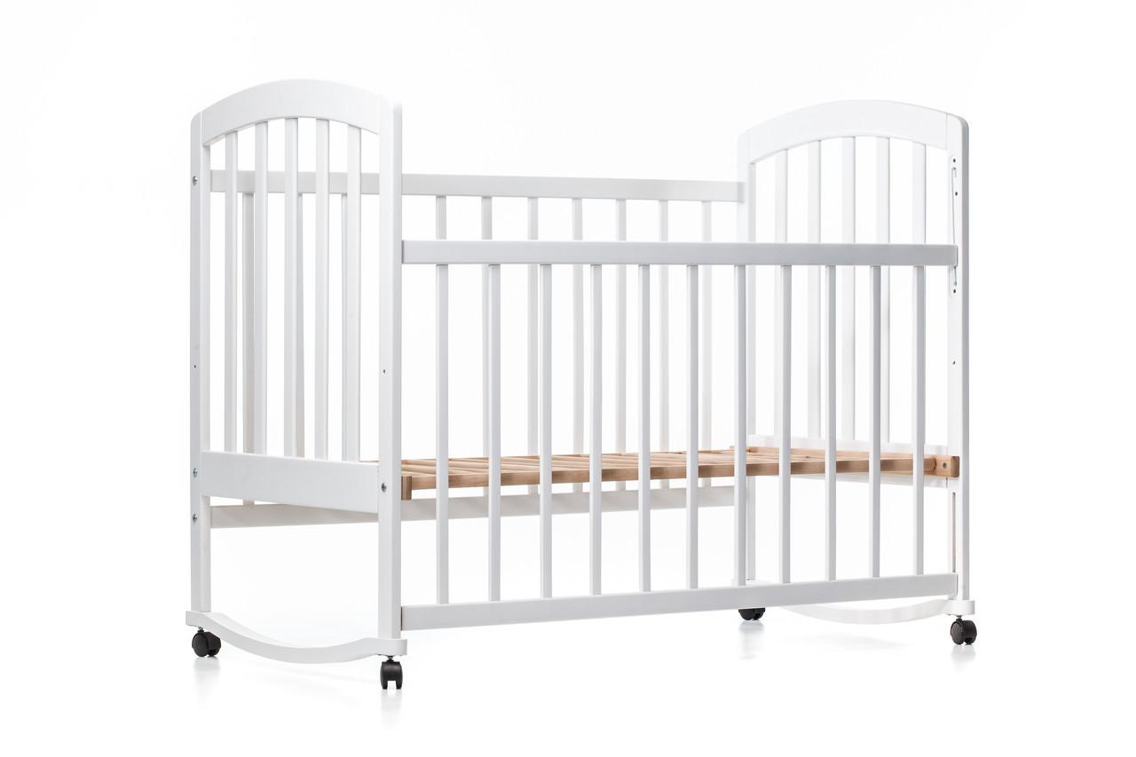 Детская кроватка «LAMA» ( натуральный лак ) Белая