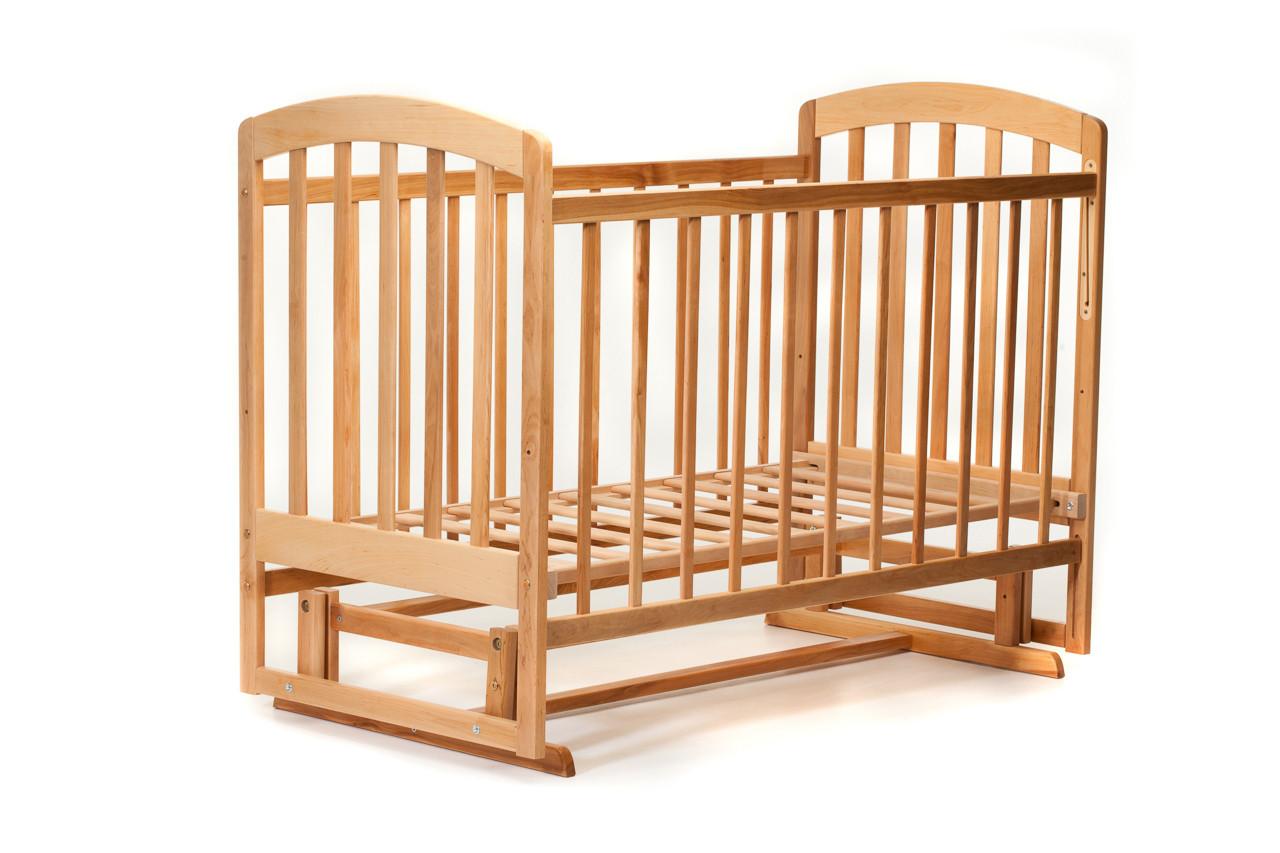 Детская кроватка «LASKA» с маятником ( натуральный лак ) Натуральный лак