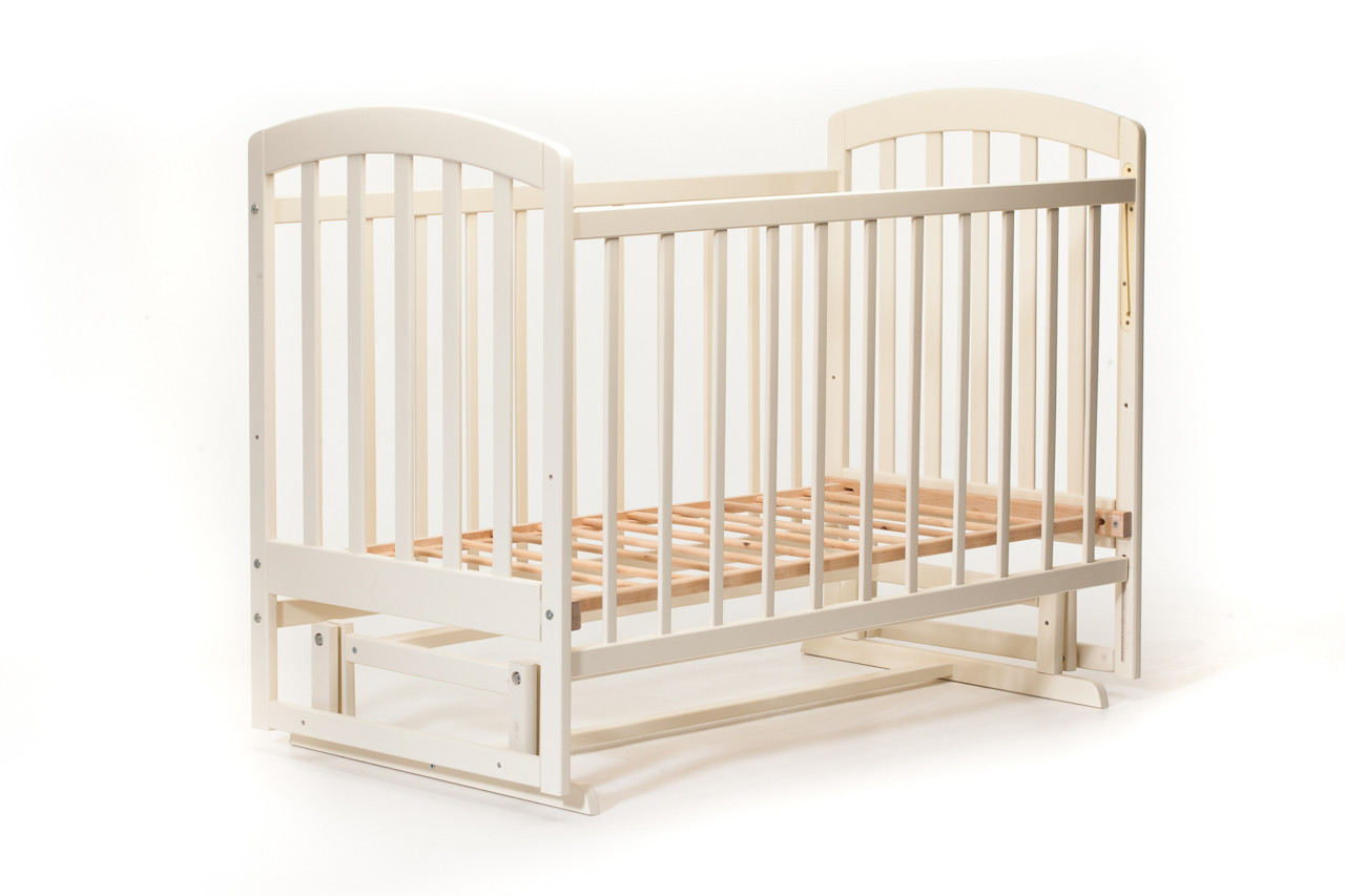 Детская кроватка «LASKA» с маятником ( натуральный лак ) Ваниль