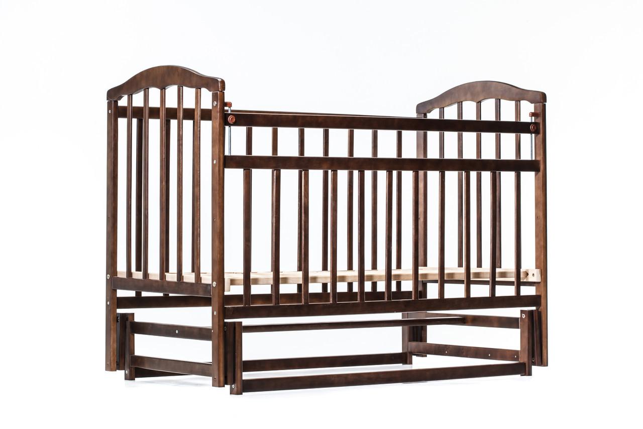 """Детская кроватка """"Чайка NEW"""" ( натуральный лак ) Темный орех"""
