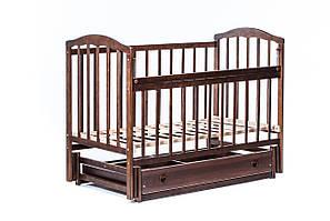"""Детская кроватка """"Чайка"""" ( натуральный лак ) Темный орех"""