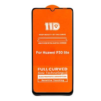 11D (5D+) стекло для Huawei P30 Lite Black Черное - Полный клей