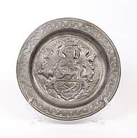 Тарелка коллекционная, старинная, настенная,  олово, Германия