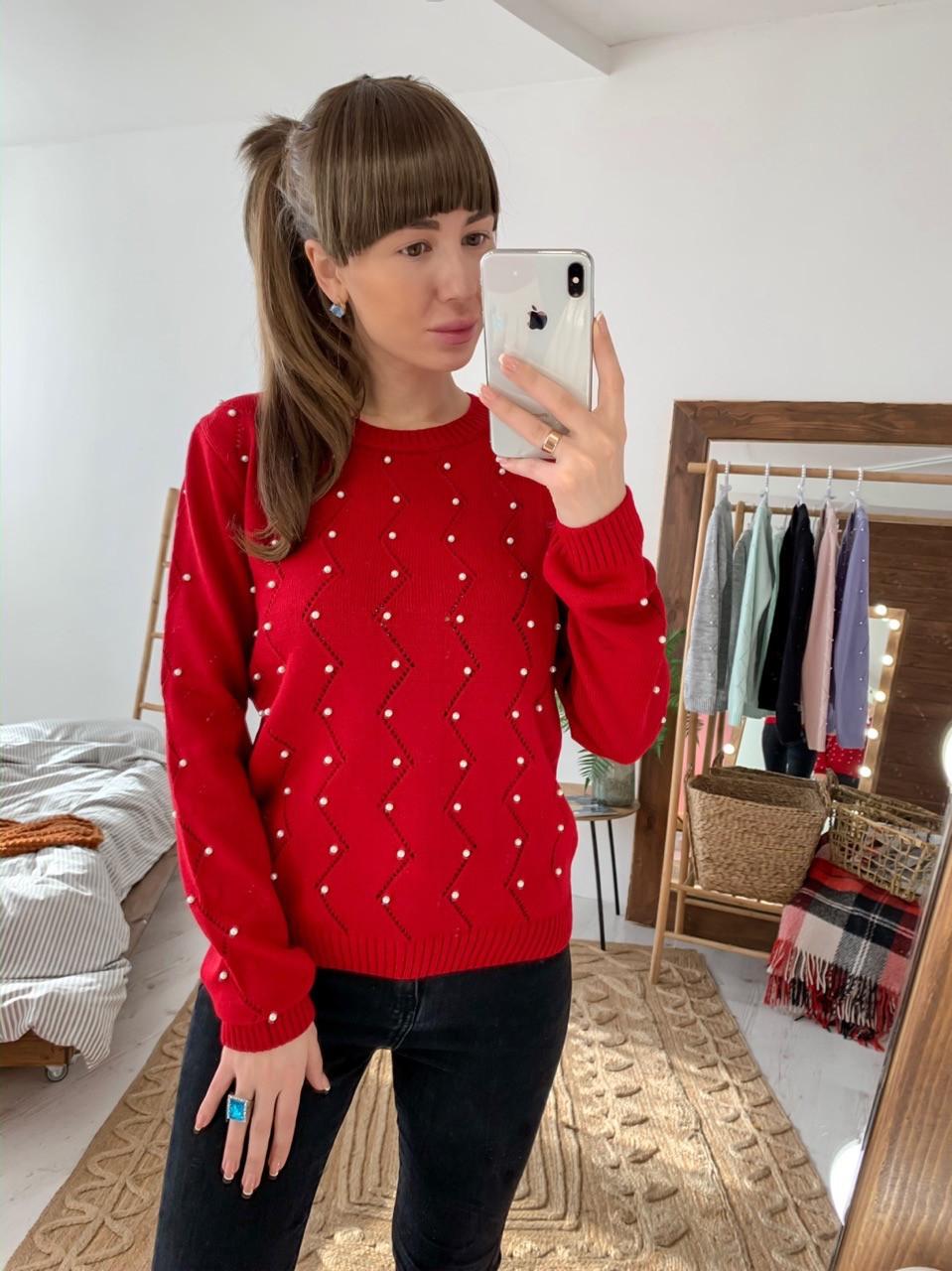 Женский узорный вязаный свитер с декором tez3304772