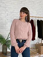 Женский короткий вязаный свитер с узорами tez3304773, фото 1