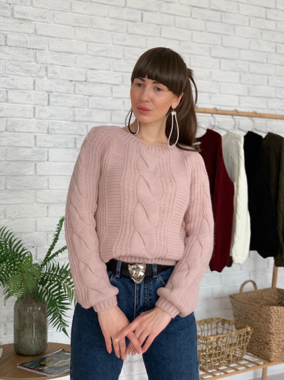 Женский короткий вязаный свитер с узорами tez3304773