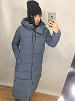 Женское длинное зимнее пальто из плащевки с капюшоном tez8201208, фото 1