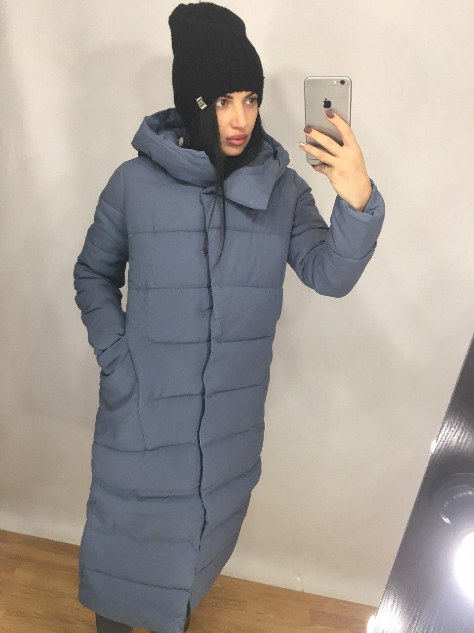 Женское длинное зимнее пальто из плащевки с капюшоном tez8201208