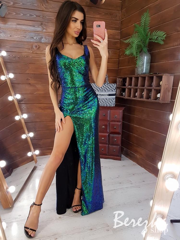 Платье макси в пайетку с разрезом на ноге и фигурным вырезом декольте tez6603375Q