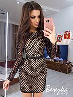 Короткое платье по фигуре из сетки с пайетками и с длинным рукавом tez6603381E, фото 1
