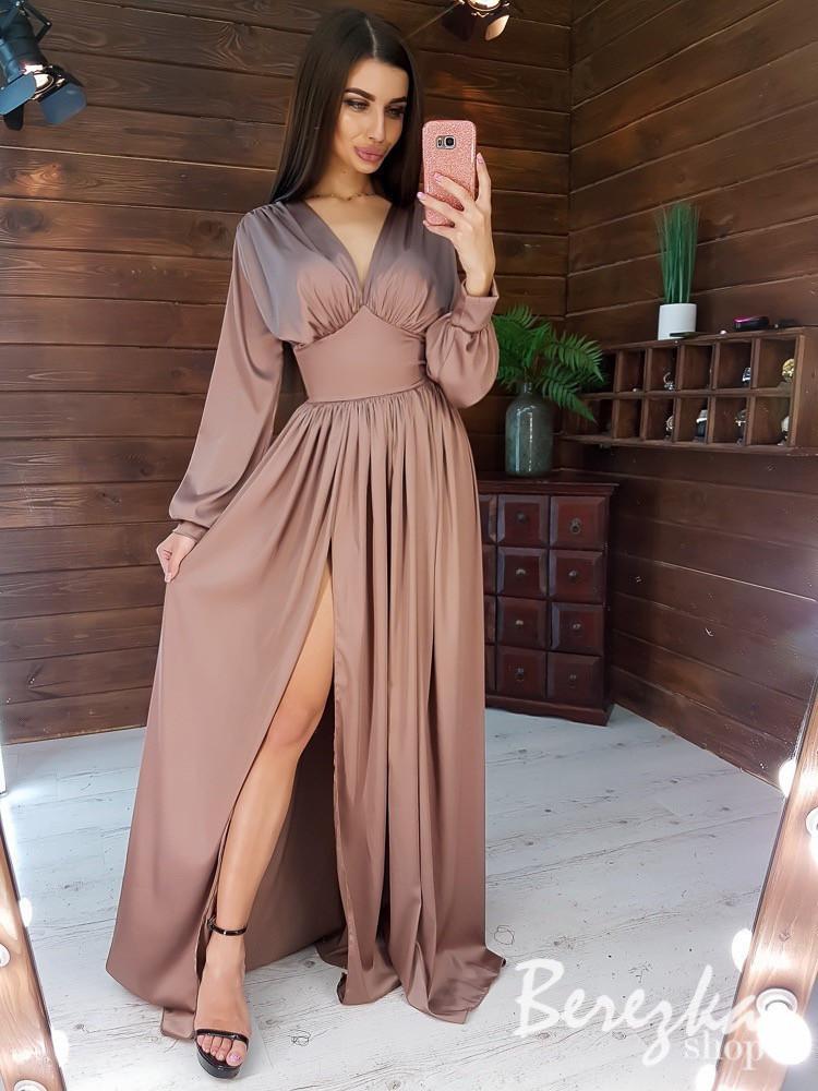 Длинное шелковое платье с разрезом и длинным рукавом tez6603384E