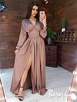 Длинное шелковое платье с разрезом и длинным рукавом tez6603384E, фото 1