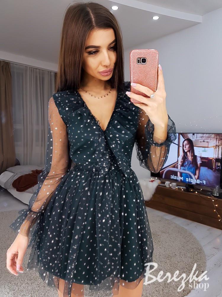 Платье с пышной юбкой из сетки с блестками и длинным рукавом tez6603391E
