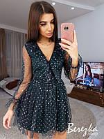 Платье с пышной юбкой из сетки с блестками и длинным рукавом tez6603391E, фото 1