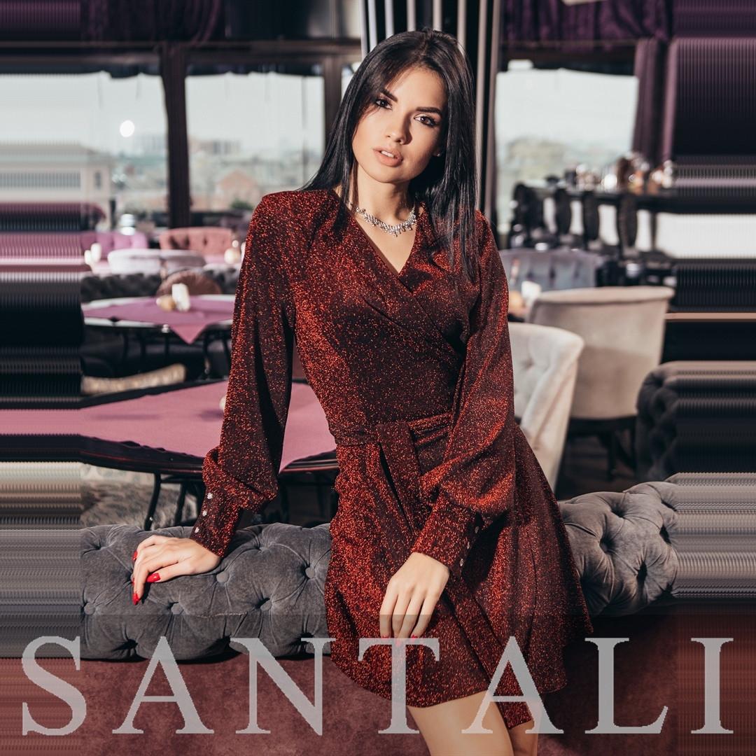 Люрексовое платье с верхом на запах и расклешенной юбкой с поясом tez4503472