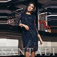 Прямое платье с сеткой и узорами из пайеток tez4503474, фото 1