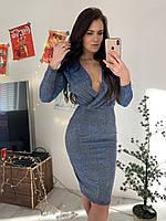 Платье - футляр из люрекса с верхом на запах и длинным рукавом tez5803484, фото 1