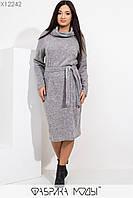 Женское вязаное платье размеров 48+ с воротом - хомутом и поясом tez115425, фото 1