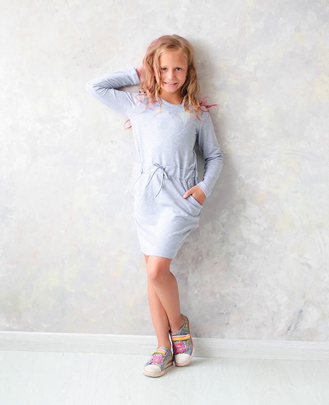 Плаття для дівчинки PL-19-36-3 *Киттибум* (Колір: сірий, Розміри - 116, 134)