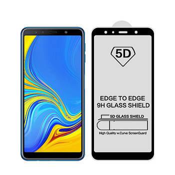 5D стекло для Samsung Galaxy A7 2018 Black Полный клей / Full Glue