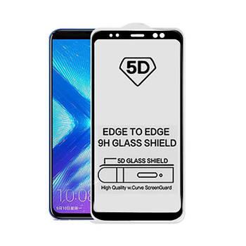 5D стекло для Samsung A8 Black Черное - Полный клей / Full Glue