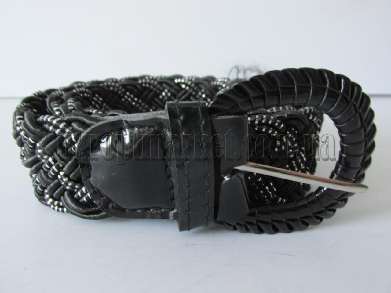 """Ремень женский плетенка шпенек черный\белый(ткань, 40 мм.) №М18133 """"Remen"""" LM-638"""