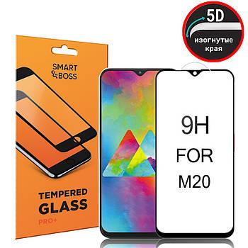 5D стекло для Samsung M20 Premium Smart Boss™ Черное - Изогнутые края