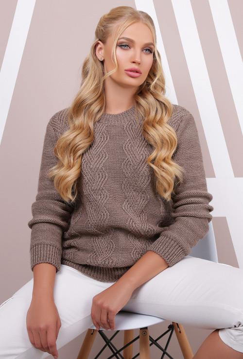 Вязаный женский свитер кофе  размер 48-54