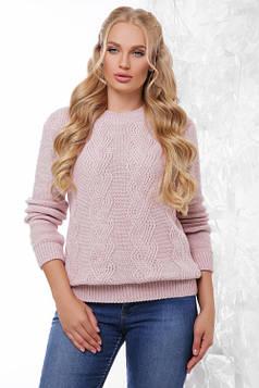Вязаный женский свитер пудра размер  48-54