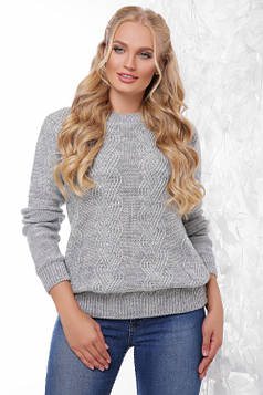 Вязаный женский свитер темно-серый размер 48-54